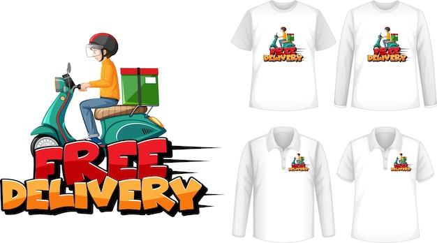 Conjunto de diferentes tipos de camisetas con pantalla de logotipo de entrega gratuita en camisetas