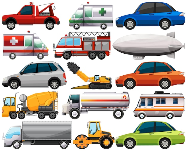 Conjunto de diferentes tipos de coches y camiones aislado sobre fondo blanco.