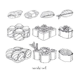 Conjunto de diferentes tipos de deliciosos rollos y sushi.