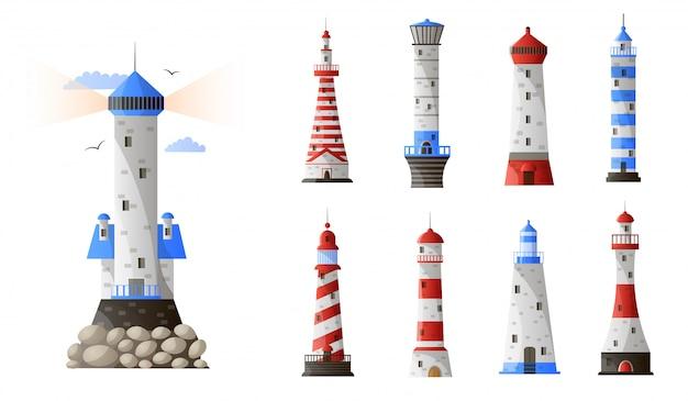 Conjunto de diferentes tipos de faro de dibujos animados aislado sobre fondo blanco