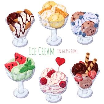 Conjunto de diferentes tipos de helados en cuencos.