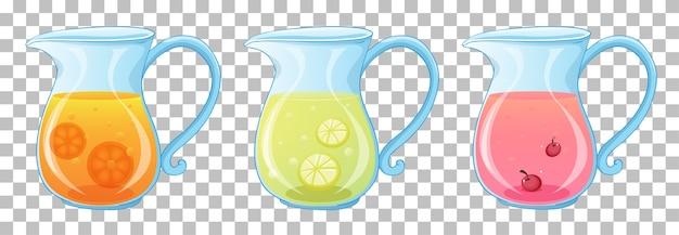 Conjunto de diferentes tipos de jugo de frutas en frascos aislados en transparente