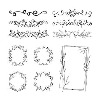 Conjunto de diferentes tipos de marcos y separadores.