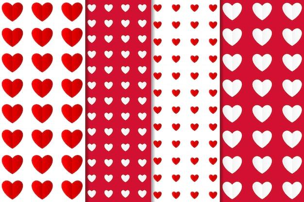 Conjunto de diferentes tipos de papel artesanal patrón de corazón