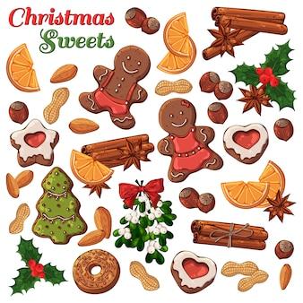 Conjunto de diferentes tipos de símbolos y dulces navideños