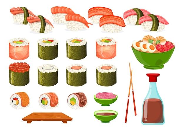 Conjunto de diferentes tipos de sushi y rollos de dibujos animados ilustración