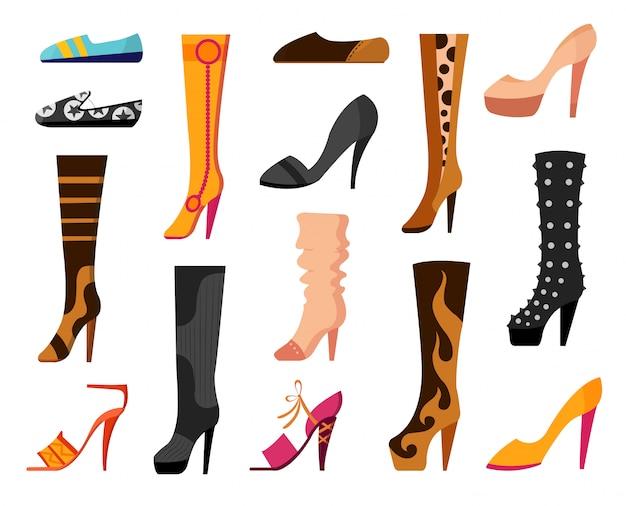 Conjunto con diferentes tipos de tendencia de zapatos de mujer ballets, zapatillas de deporte, botas, pisos, zapatos de salón, converse. ilustración vectorial