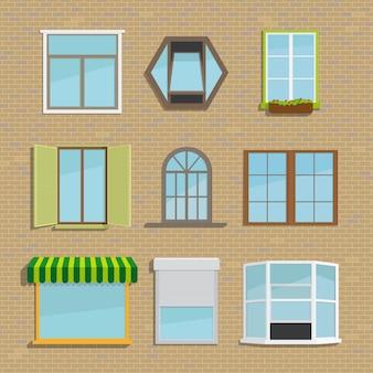 Conjunto de diferentes tipos de ventanas. casa y arquitectura, persianas y contraventanas, toldo y marea