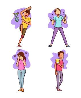 Conjunto de diferentes trastornos mentales dibujados a mano.