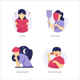 Conjunto de diferentes trastornos mentales de diseño plano.