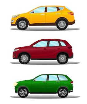 Conjunto de diferentes vehículos todoterreno en tres colores.
