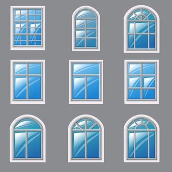 Conjunto de diferentes ventanas, elemento para la arquitectura.