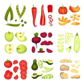 Conjunto de diferentes verduras enteras y en rodajas.