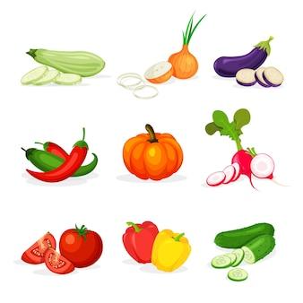 Conjunto de diferentes verduras en un estilo de dibujos animados de moda.