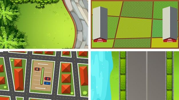 Conjunto de diferentes vistas aéreas.