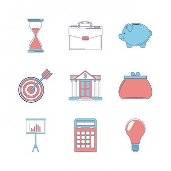 Conjunto de dinero y colección de iconos de banco