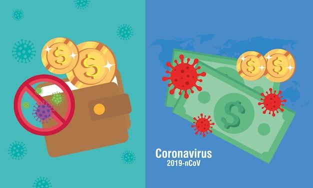 Conjunto de dinero en efectivo con partículas 219 ncov