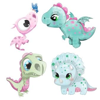 Conjunto de dinosaurios acuarelas