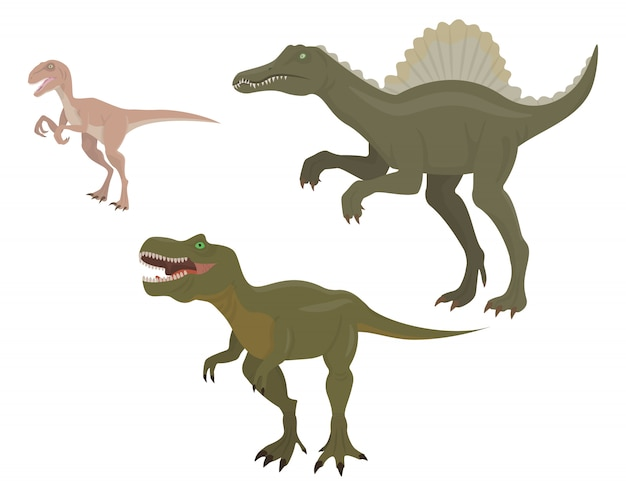 Conjunto de dinosaurios depredadores. velociraptor, spinosaurus y tiranosaurio en estilo de dibujos animados.