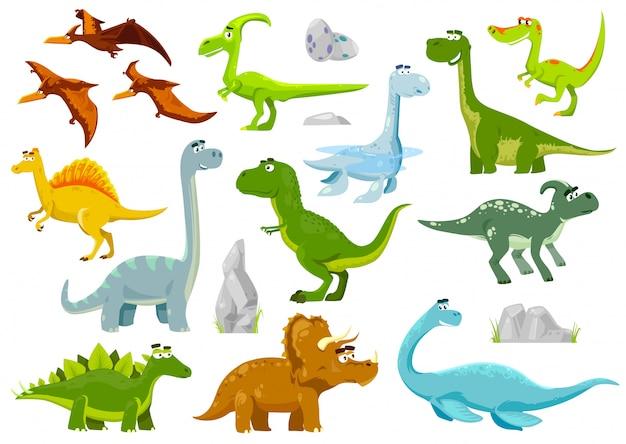Conjunto de dinosaurios de dibujos animados, dragones, baby dino