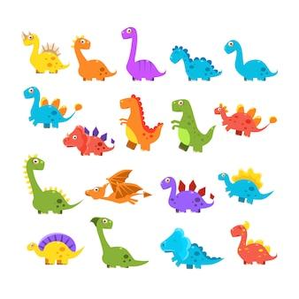 Conjunto de dinosaurios de dibujos animados lindo