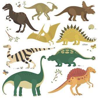 Conjunto de dinosaurios de dibujos animados
