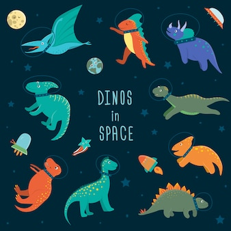 Conjunto de dinosaurios lindos en el espacio ultraterrestre. divertido fondo de personajes dino cósmicos planos. ilustración de reptiles prehistóricos lindo