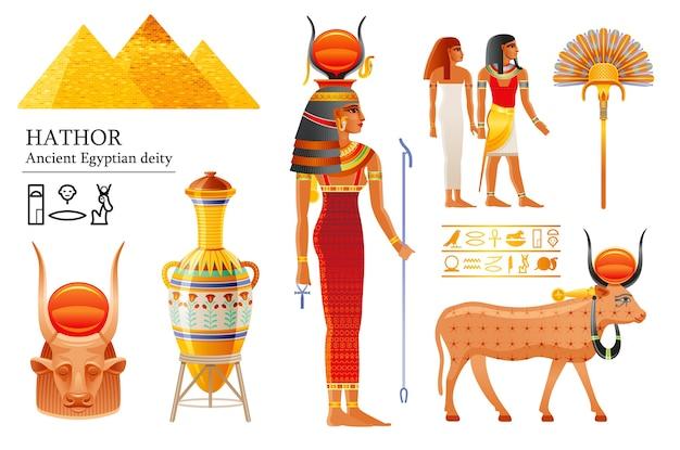 Conjunto de diosa egipcia hathor, deidad del cielo con sol, cuernos de vaca. dios egipcio antiguo.