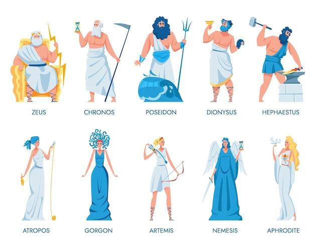 Conjunto de dioses y diosas griegos antiguos. establecer ilustración