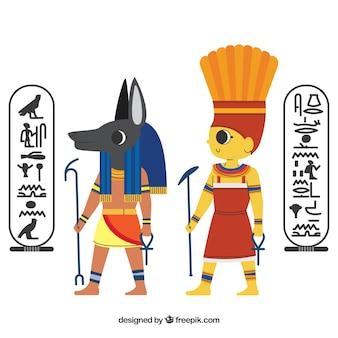 Conjunto de dioses y símbolos egiptos
