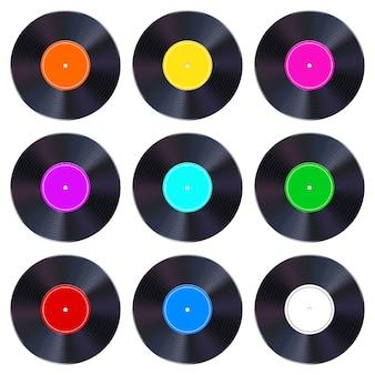 Conjunto de discos de vinilo.