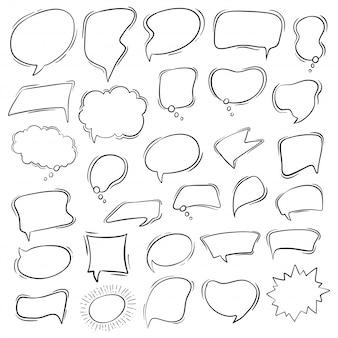 Conjunto de discurso de burbuja en estilo dibujado a mano