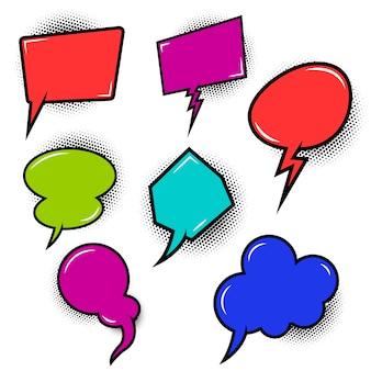 Conjunto de discurso vacío estilo cómic bubles. elementos para póster, camiseta, pancarta. imagen