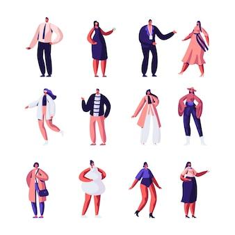 Conjunto de diseñadores y modelos de moda. ropa de alta costura y pasarela.