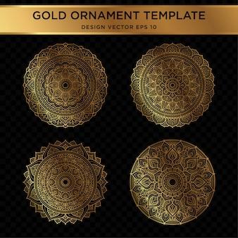 Conjunto de diseño abstracto ornamento de oro