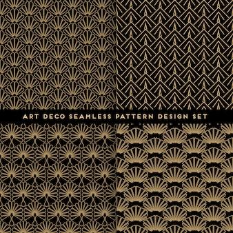 Conjunto de diseño art deco de patrones sin fisuras