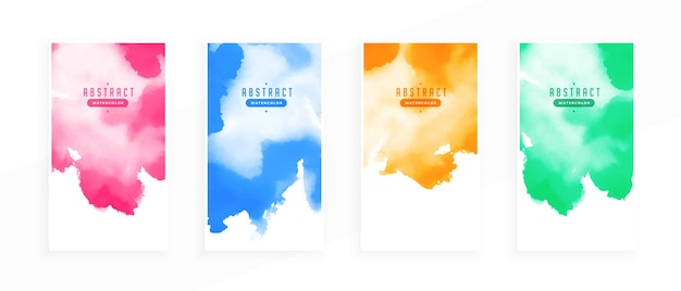 Conjunto de diseño de banner de coloridas manchas de acuarela