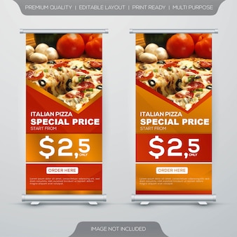 Conjunto de diseño de banner enrollable de stand de comida de restaurante