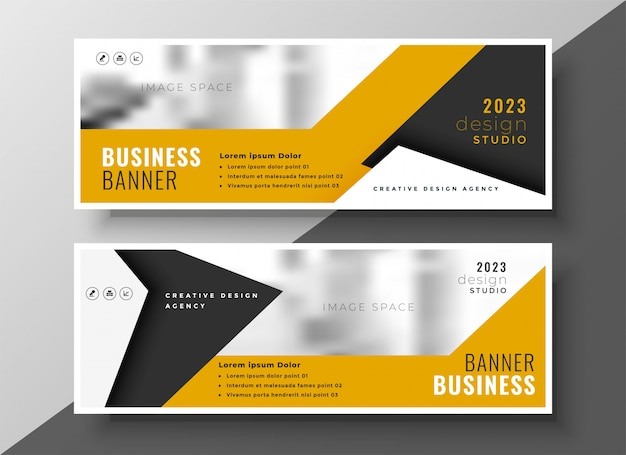 Conjunto de diseño de banner de presentación de negocios amarillo moderno