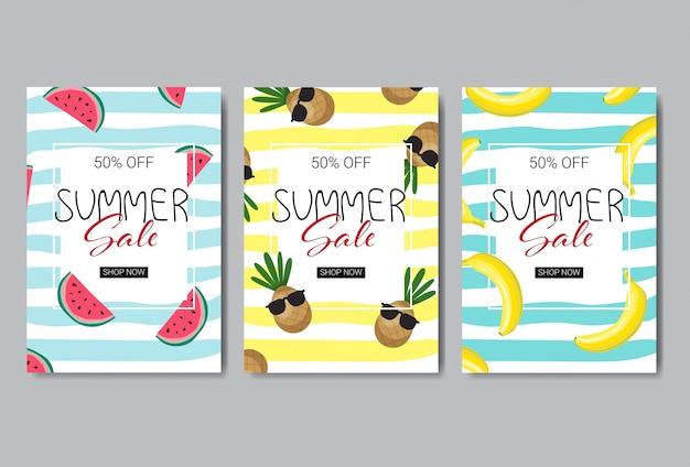 Conjunto de diseño de banner de venta de verano.