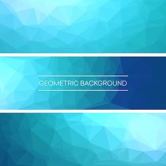 Conjunto de diseño de banners de fondo azul triangular poligonal.