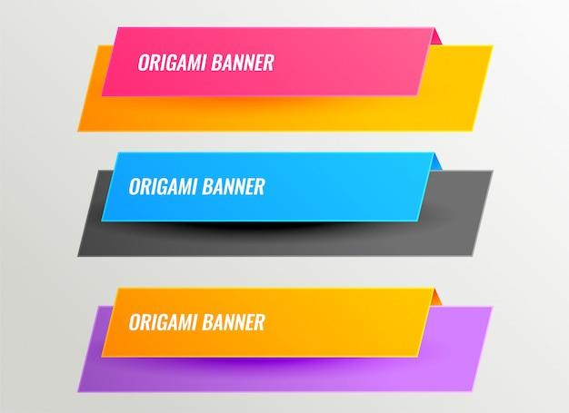 Conjunto de diseño de banners de origami brillante