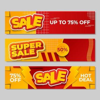 Conjunto de diseño de banners de venta. ilustración vectorial