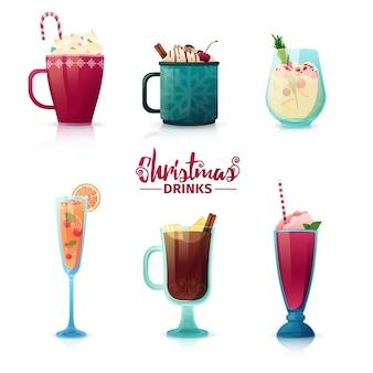 Conjunto de diseño de bebidas navideñas en estilo de dibujos animados