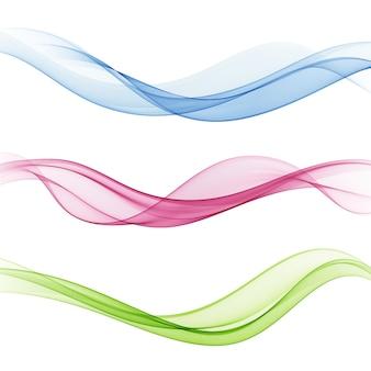 Conjunto de diseño de borde web colorido brillante suave de la hermosa y moderna colección de ondas swoosh.