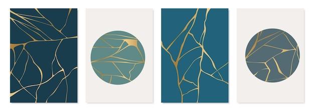 Conjunto de diseño de cartel de kintsugi dorado.