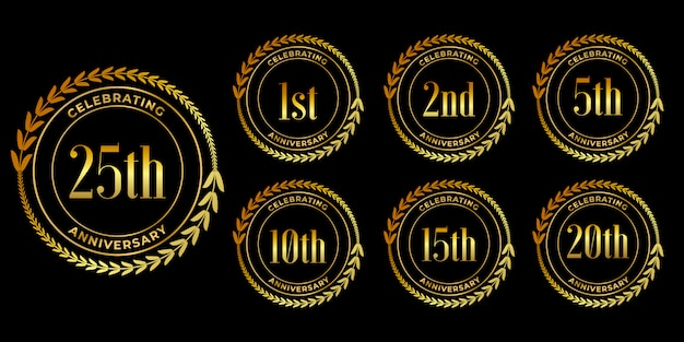 Conjunto de diseño de celebración de aniversario de oro