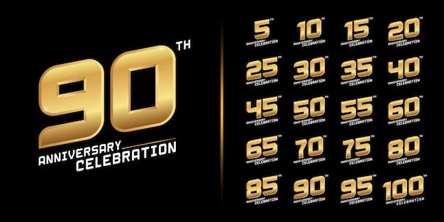 Conjunto de diseño de celebración de aniversario de oro.