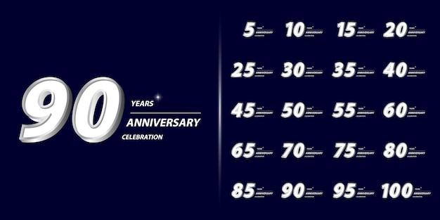 Conjunto de diseño de celebración de aniversario premium.