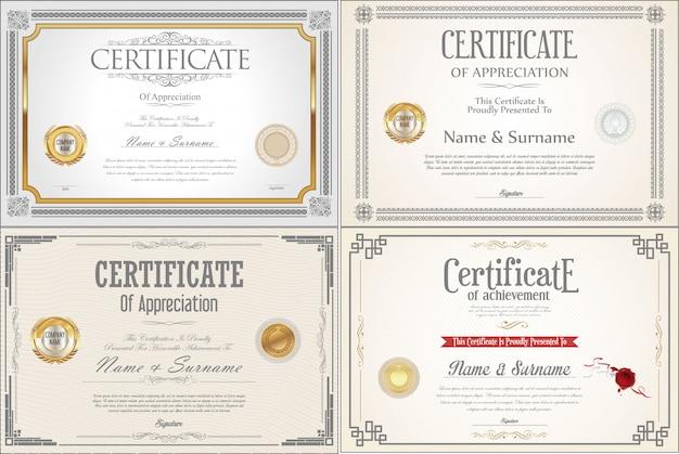 Conjunto de diseño de certificado de logro con sellos.